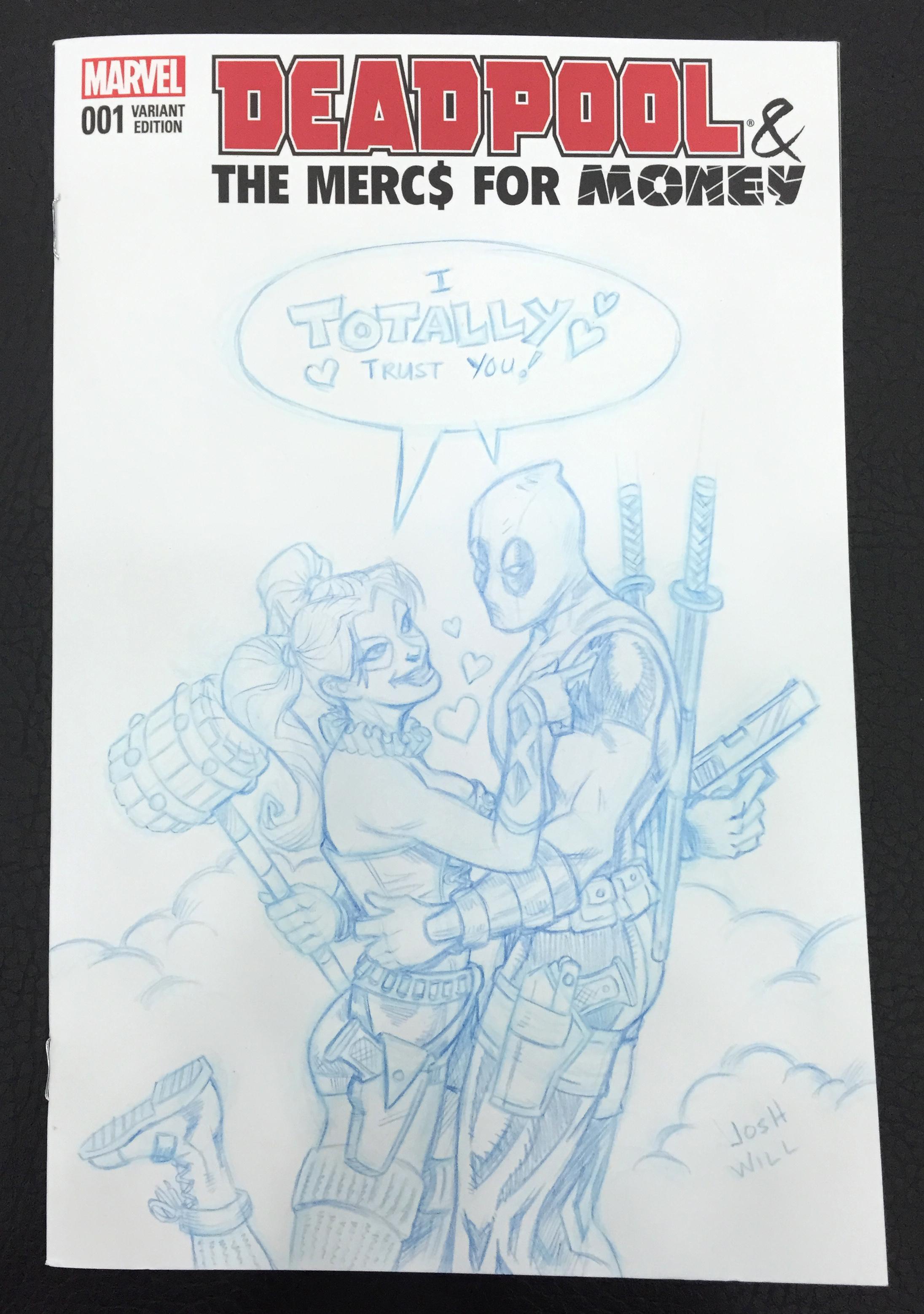 Deadpool & Harley Quinn sketch cover comic - Blue