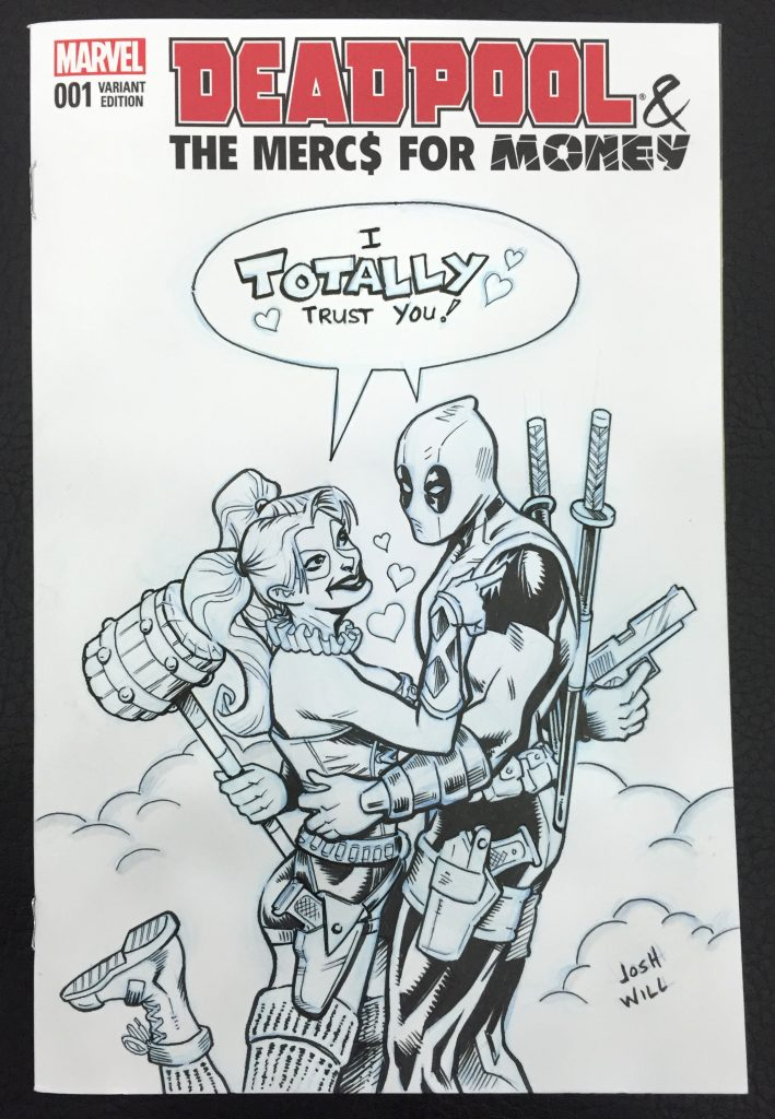 Deadpool & Harley Quinn sketch cover comic