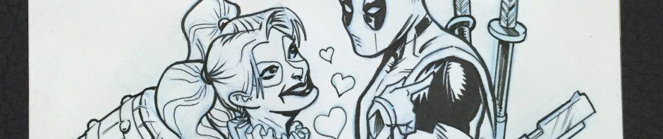 Deadpool & Harley Quinn sketch cover comic